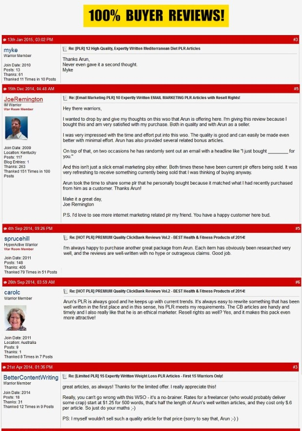 Top ClickBank Product Reviews PLR by Arun Chandran Bonus